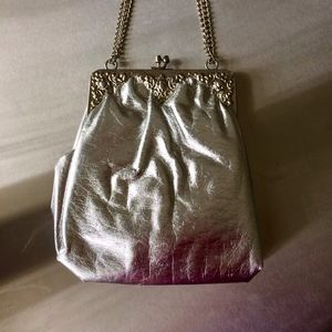 Vintage Silver Evening Bag with Ornamental Clasp